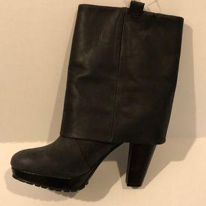 👢GAP black leather high heel cuff boots NWT